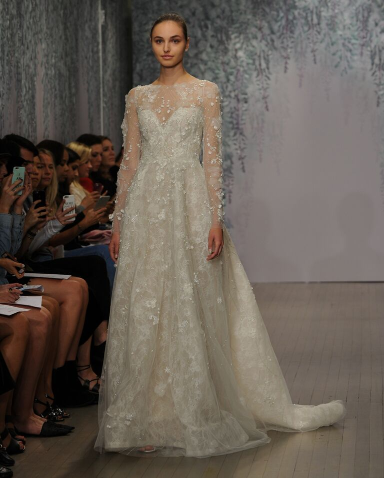 Monique Lhuillier Wedding Dress Fall 2016 Silk White Illusion Long Sleeve Ball Gown With