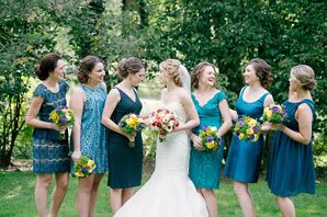 Bridesmaids Dressed in Blue With Bride