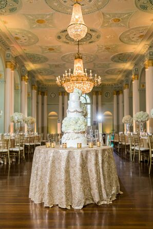 Glamorous Gold Cake Table with Tiered Round Cake