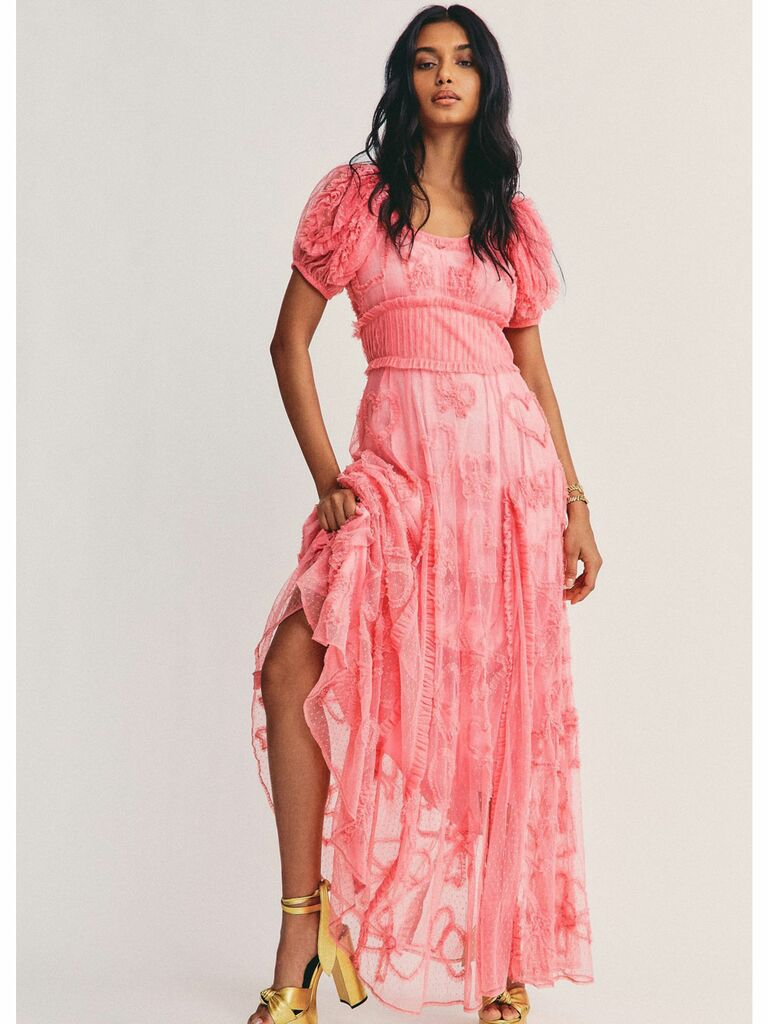 Pink cottagecore dress with puff sleeves and floral tulle embroidery