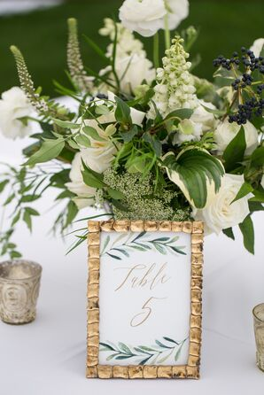 Elegant Green and White Flower Arrangements with Framed Greenery Table Numbers