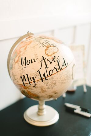 Bohemian Globe Guest Book with Calligraphy