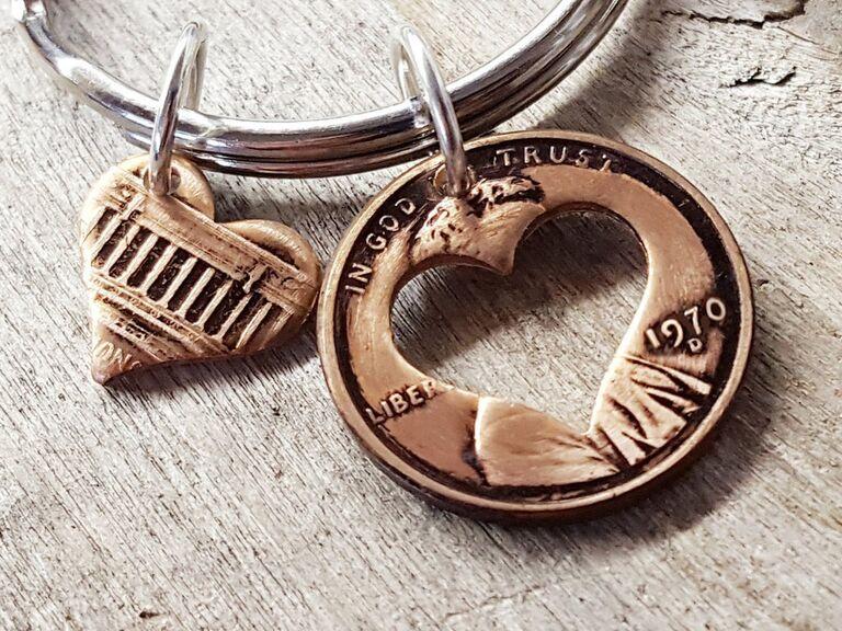 Lucky Liberty 1970 penny heart keychain