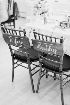 'Wifey' and 'Hubby' Reception Chair Signs