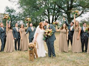 Elegant Gray and Taupe Wedding Party Attire
