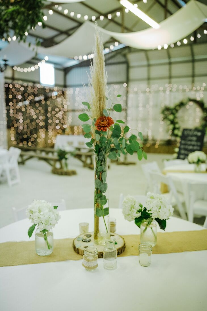 Modern, Rustic Centerpieces with Leaves, Grasses and Flowers