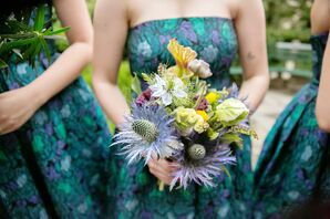 Bridesmaid Bouquet with Venus Fly Traps, King Protea and Herbs