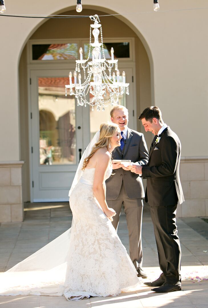 Outdoor Ceremony Under Crystal Chandelier