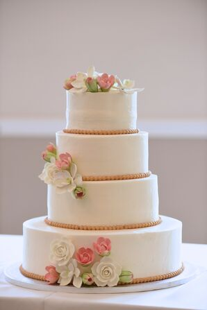 Smooth White Wedding Cake With Sugar Flowers
