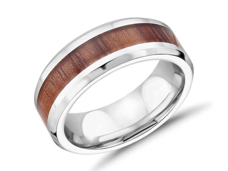 Blue Nile wood inlay wedding band