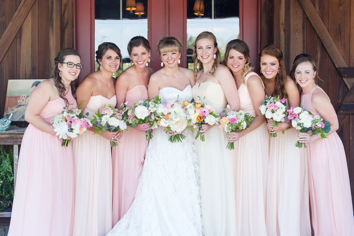 Floor-Length Peach, Rose and Champagne Bridesmaid Dresses