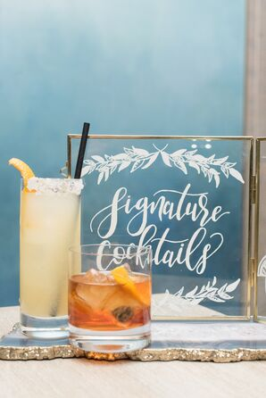 Signature Cocktails with Calligraphed Sign