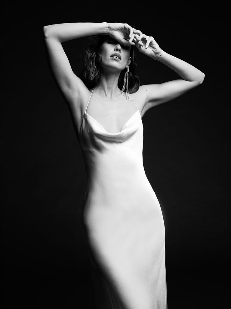 Rime Arodaky fitted gown with spaghetti straps