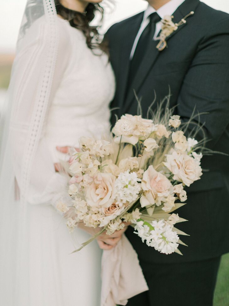 Tan, White and Pink Bouquet with Dried Elements