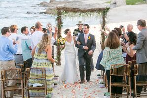Natural Branch Wedding Arch With White Flowers