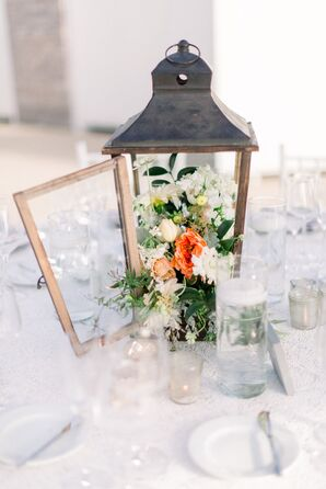 Centerpiece with Lantern and Flowers
