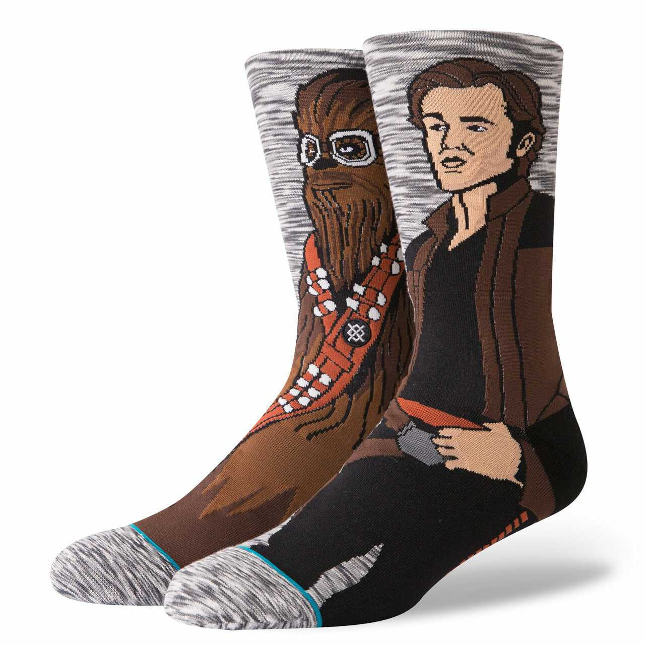 gray heather socks with han and chewie from star wars