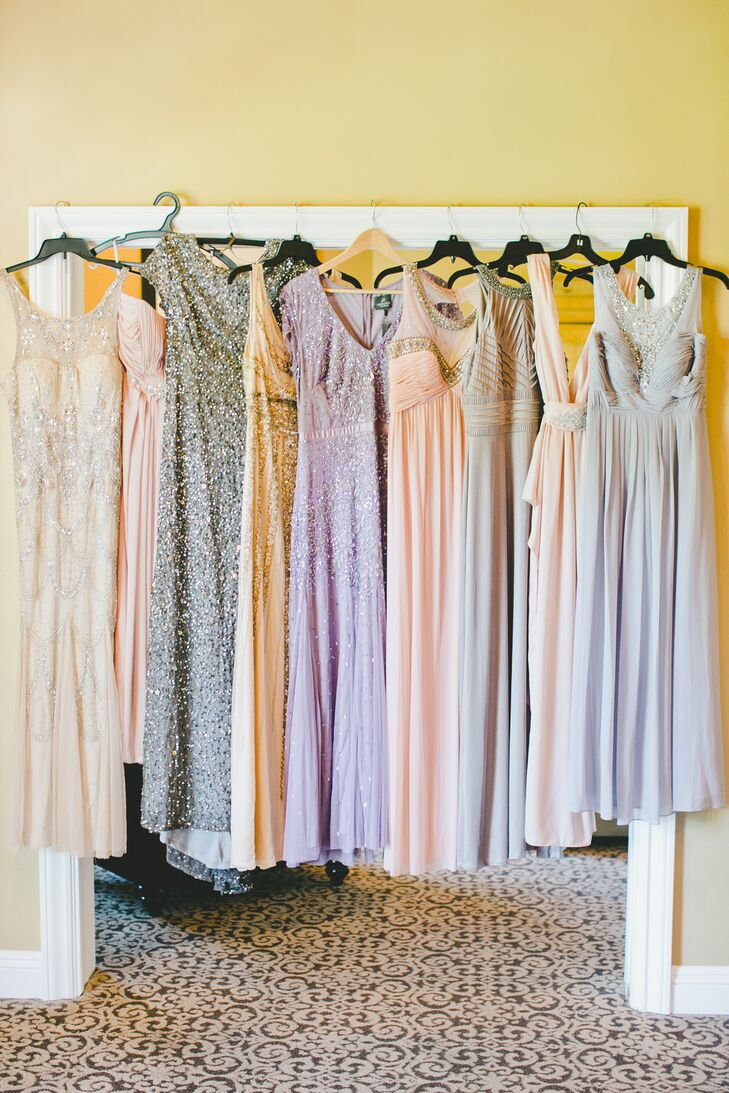 The bridesmaids picked different dresses in a variety of soft colors and lengths. The gowns went perfectly with the palette of whites, pinks and lavender.