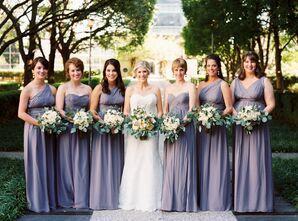 Long Lavender Donna Morgan Bridesmaid Dresses