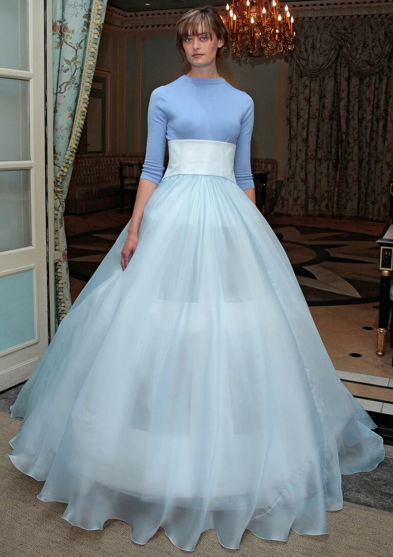 Delphine Manivet Spring 2017 Baby Blue Ball Gown Wedding Dress With Sheer Full Skirt And Crew