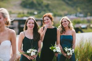 Bridesmaids in Different Blue Dresses