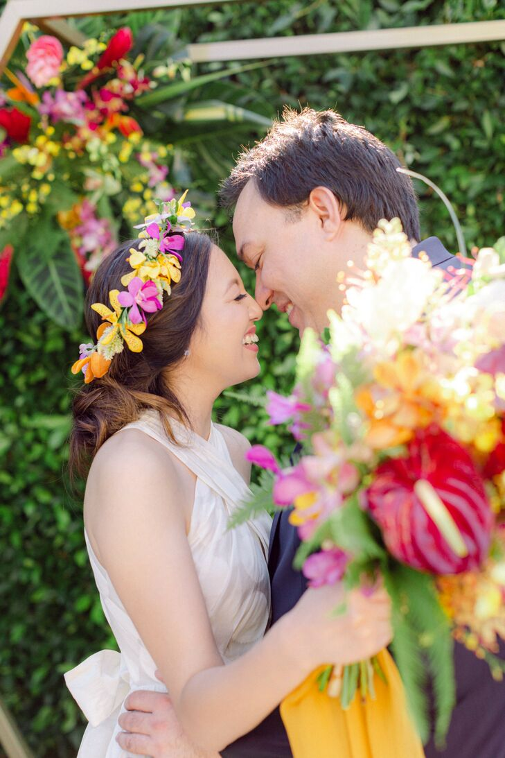 Bride and Groom Smiling at Backyard Minimony in Southern California