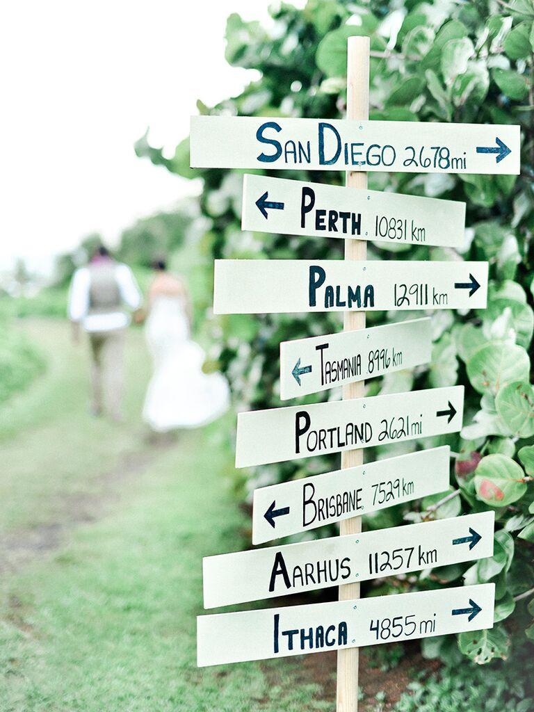 Travel sign idea for a destination wedding