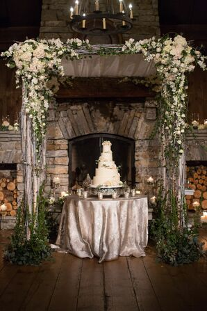 Glamorous Cake Table Arch with Hydrangea, Roses and Vines