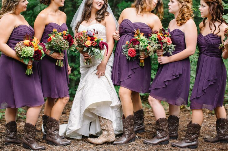 """I bought all the girls a pair of dark-brown cowgirl boots to wear with their dresses,"" Katie says. The women paired the boots with plum, strapless, knee-length dresses cut with a flattering sweetheart neckline."