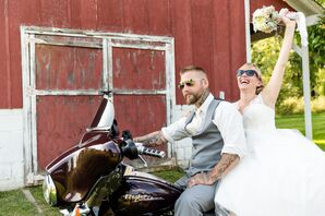 Couple Riding Motorcycle with Sunglasses