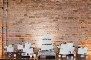Simple White Wedding Cakes With Green Accents