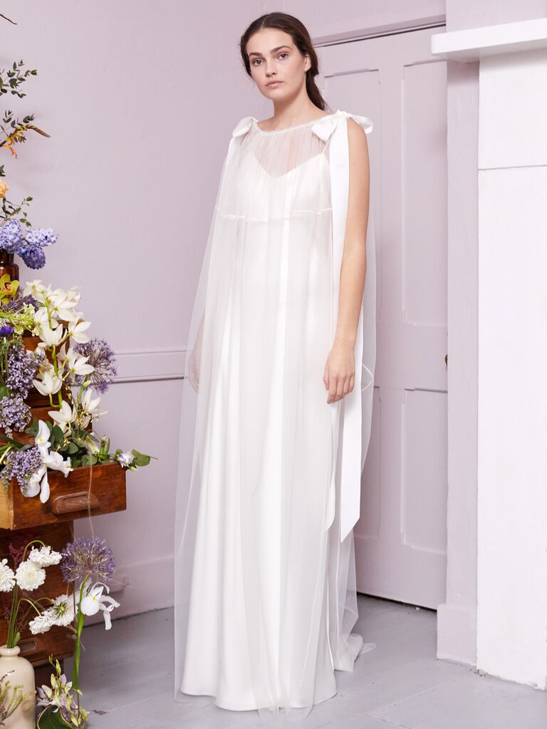 Halfpenny London 2020 Bridal Collection sleeveless wedding dress with sheer cape