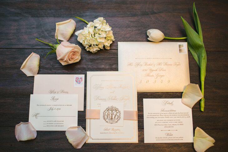 Formal Blush Monogrammed Wedding Invitations