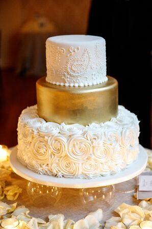 Rosette, Gold and Paisley Wedding Cake
