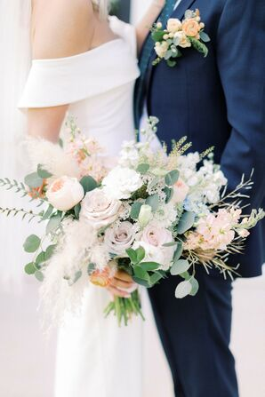 Rose and Eucalyptus Bouquet for Wedding at The Barn at Willow Brook in Leesburg, Virginia