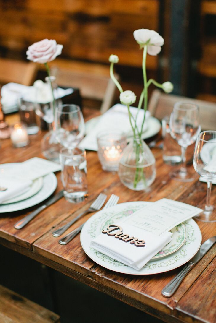 Rustic Place Setting with Single Bud Vases