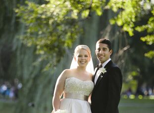 The couple worked with a pearlescent color scheme of blush, silver and champagne to create a warm, soft feeling for their elegant downtown day.