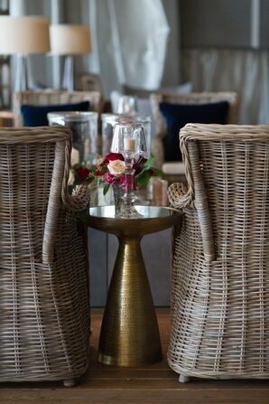 Wicker Lounge Chairs and Metallic Side Tables