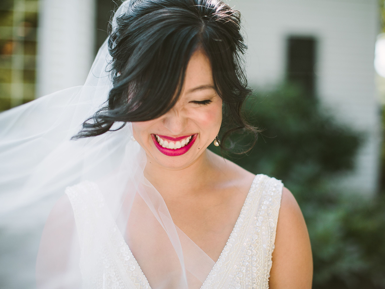 Something new bride smiling with lipstick