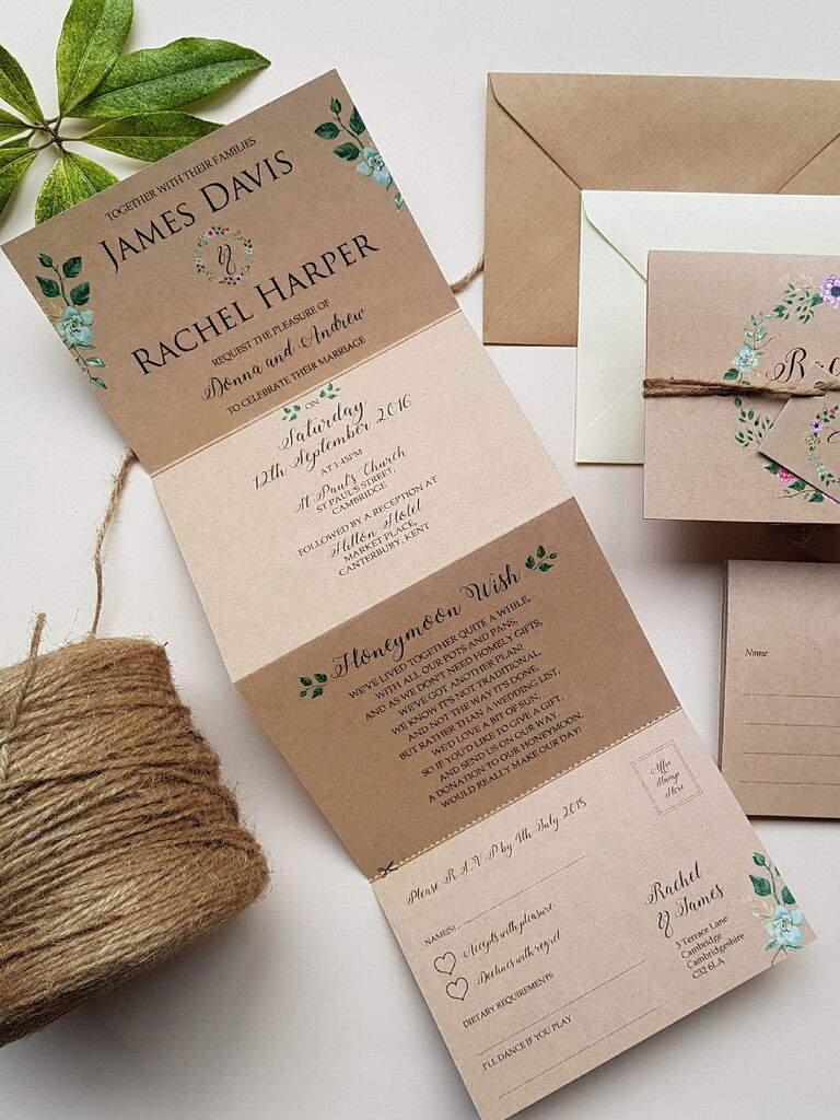 Rustic folding invitation and RSVP card