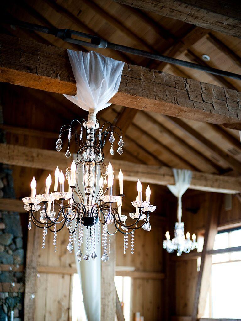 Elegant chandeliers for a rustic winter wedding