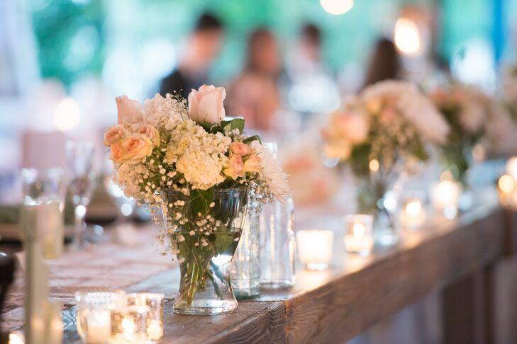 Wooden Reception Tables With DIY Centerpieces