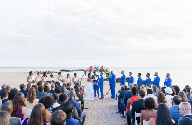 Wedding Ceremony at Lighthouse Point Park in New Haven, Connecticut