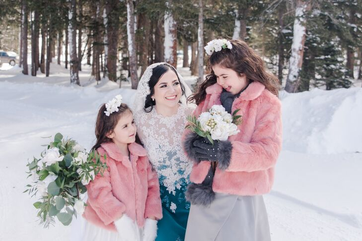 Fuzzy Pink Flower Girl Coats