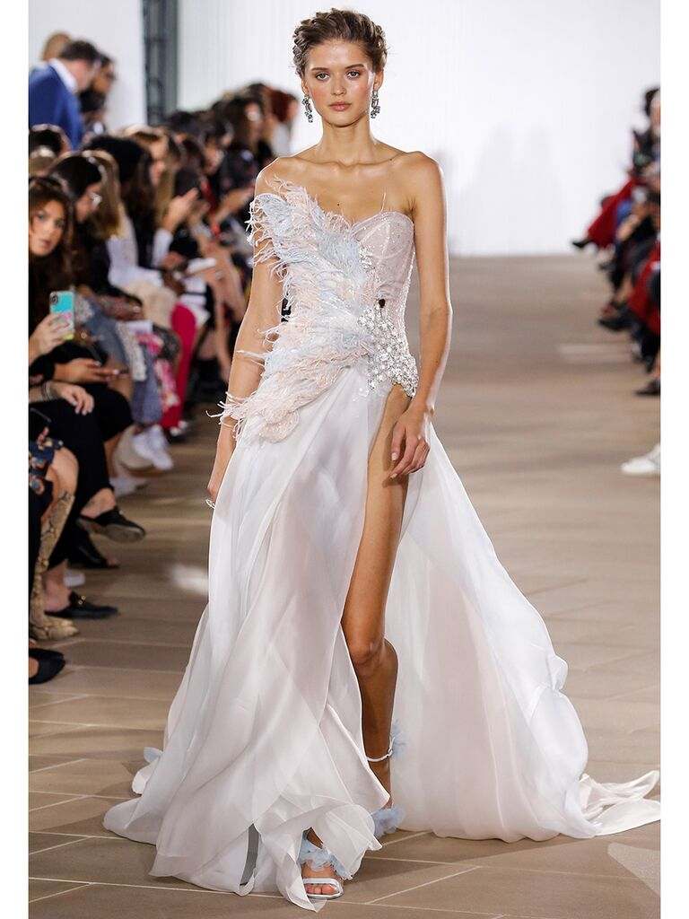 Ines Di Santo wedding dress one shoulder strapless gown with feather