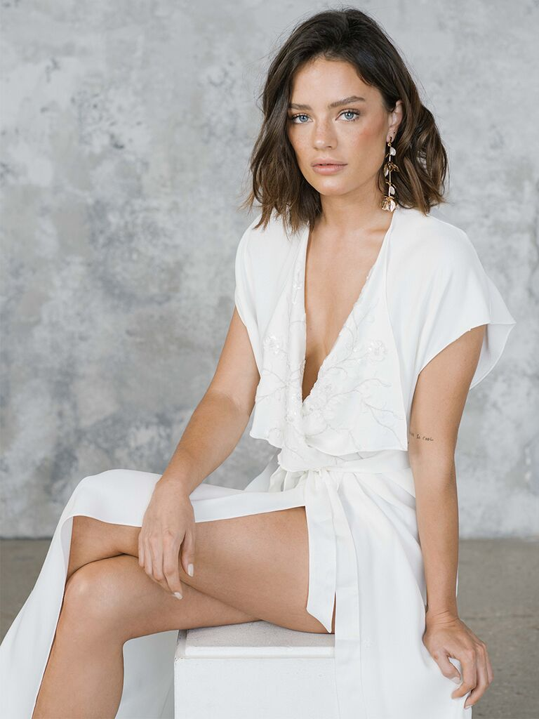 Rime Arodaky wrap dress with lace embroidery