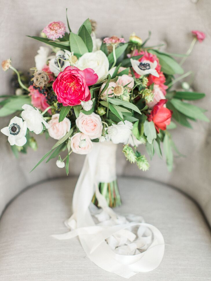 Anemones were incorporated into Katlyn's bridal bouquet since they're her favorite bloom.