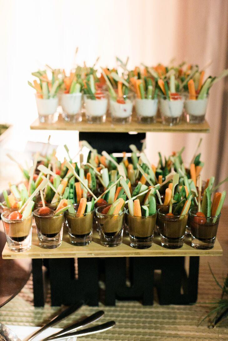 The menu revolved around seven food stations like crudite in shot glasses.
