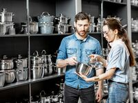 couple shopping for kitchenware