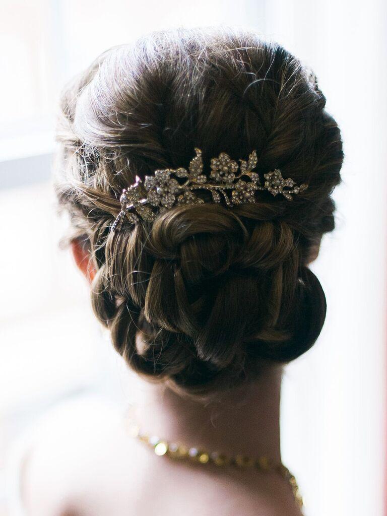 wedding braid hairstyles braided bun with sparkly hairpiece